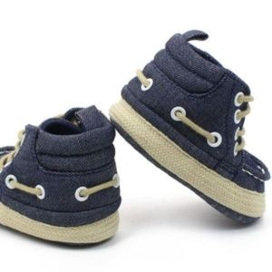 Other - Boutique baby crib shoes boy girl blue canvas